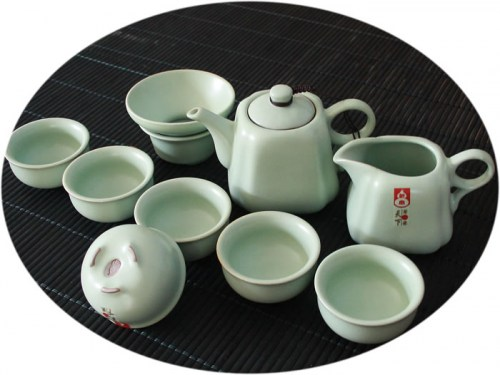 Chinese tea set Ru Kiln 10 Pieces Tea Set B